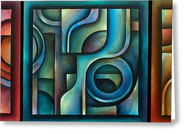 Geometric Shape Greeting Cards -  Trilogy Greeting Card by Michael Lang