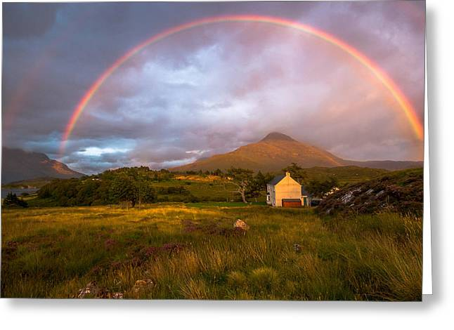 Recently Sold -  - Tripple Greeting Cards -  Tripple Rainbow over Balgy Lodge Greeting Card by Callum Douglass
