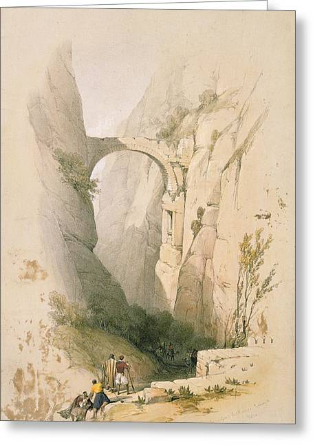 Jordan Hill Greeting Cards -  Triumphal Arch crossing the Ravine leading to Petra Greeting Card by David Roberts