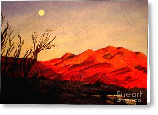 Sunset Greeting Cards Greeting Cards -  Tucson Moon Greeting Card by Katrina West