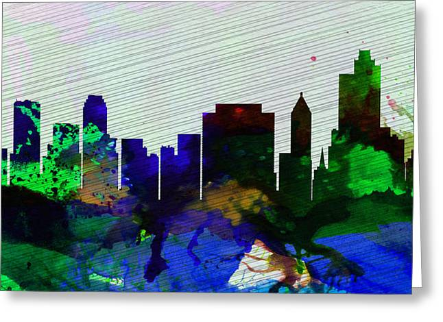 Architectural Paintings Greeting Cards -  Tulsa City Skyline Greeting Card by Naxart Studio