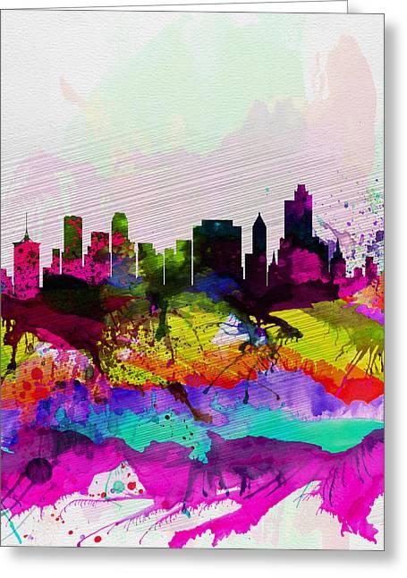 Oklahoma Landscape Greeting Cards -  Tulsa Watercolor Skyline Greeting Card by Naxart Studio