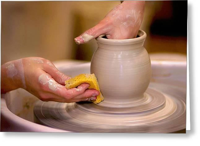 Pottery Wheel Greeting Cards -  Turn Turn Turn Greeting Card by David and Carol Kelly