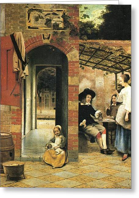 Hooch Greeting Cards -  Two carousing men and a woman under a gazebo in the yard Greeting Card by Pieter de Hooch