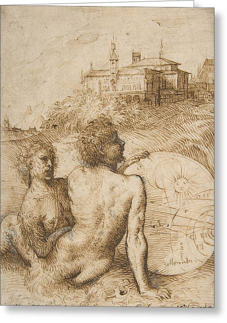 Pen And Ink Drawing Greeting Cards -  Two Satyrs in a Landscape Greeting Card by Titian