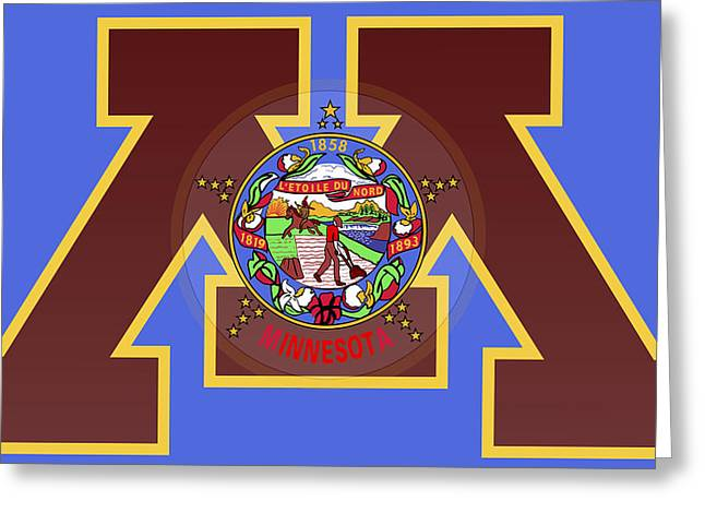U Of M Minnesota State Flag Greeting Card by Daniel Hagerman