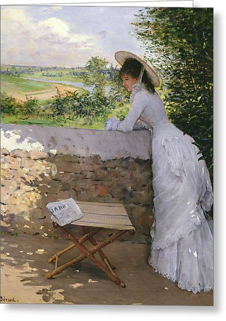 Daydream Paintings Greeting Cards -  Un Figaro de Reve  Greeting Card by Jean Beraud