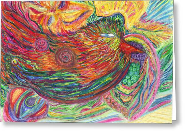 Flying Bird Pastels Greeting Cards - The Universe Looks With Eyes of Love Greeting Card by Aja Dematerra