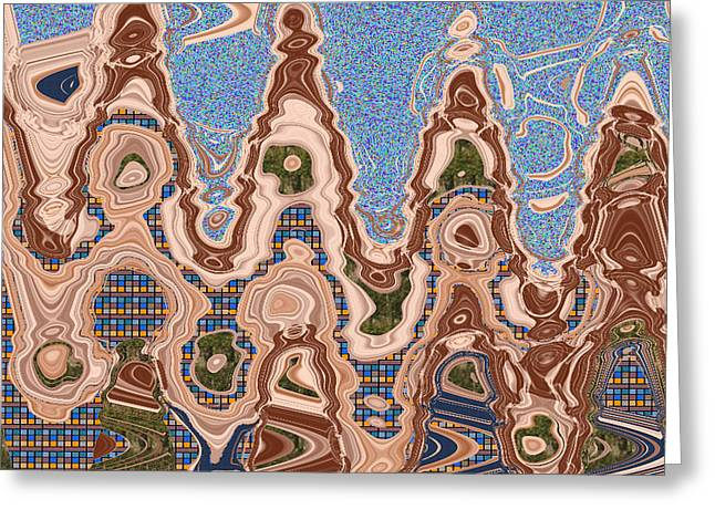Town Mixed Media Greeting Cards -  Urban Town Planning and Architecture Sketches Waves patterns Fantasy Abstract Art showing Roads Tra Greeting Card by Navin Joshi
