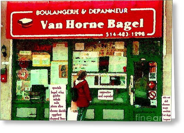 Bagel Shops Greeting Cards -  Van Horne Bagel Shop Boulangerie Depanneur Painting Charcuterie Fromagerie French Shop Cspandau Art Greeting Card by Carole Spandau