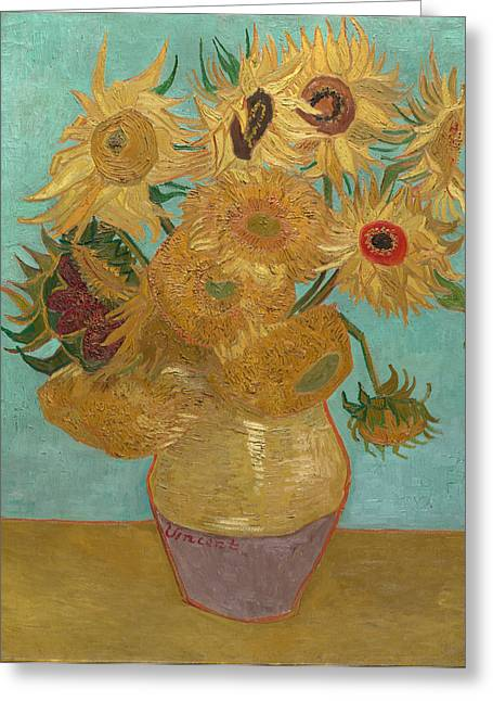 Arles Paintings Greeting Cards -  Vase with Twelve Sunflowers Greeting Card by Vincent van Gogh