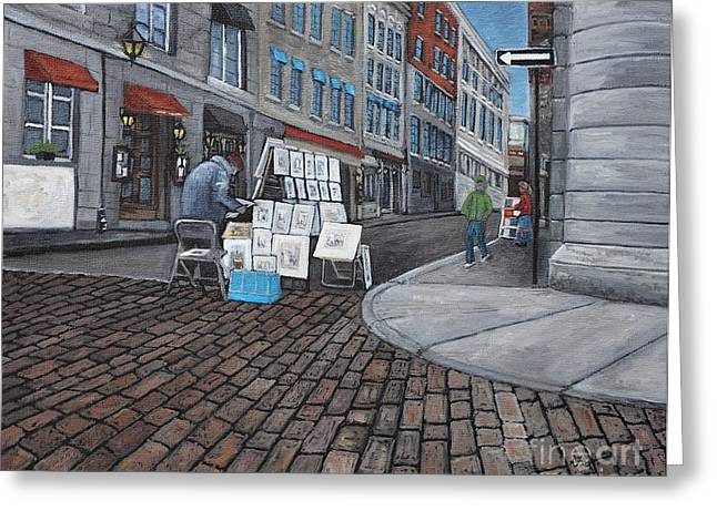 Montreal Streets Paintings Greeting Cards -  Vendeur Sur La Rue Vieux Montreal Greeting Card by Reb Frost