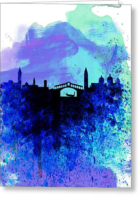 Panoramic Greeting Cards -  Venice Watercolor Skyline Greeting Card by Naxart Studio