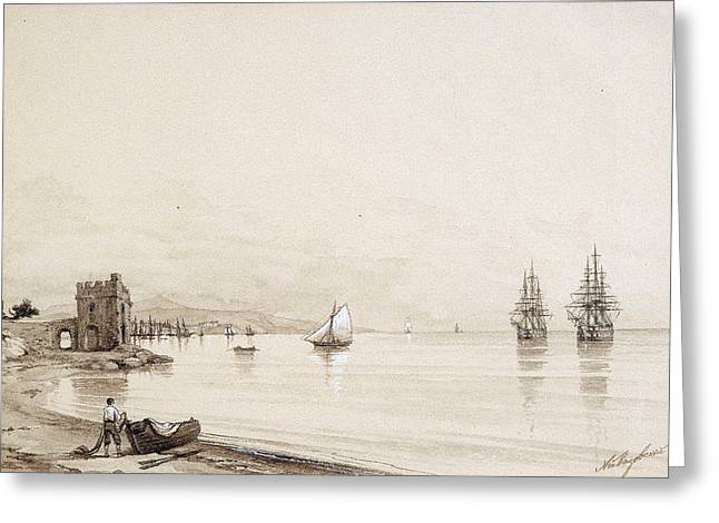 Sea With Waves Greeting Cards -  View of a bay with numerous sailing-ships. Feodosia Greeting Card by Ivan Konstantinovich Aivazovsky