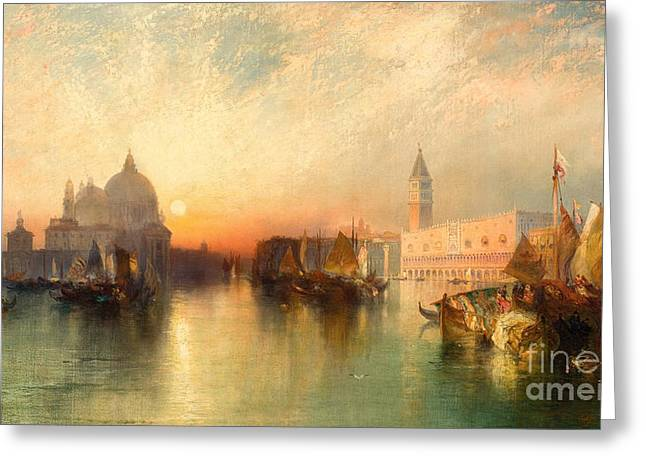 Blue Green Water Greeting Cards -  View of Venice Greeting Card by Thomas Moran