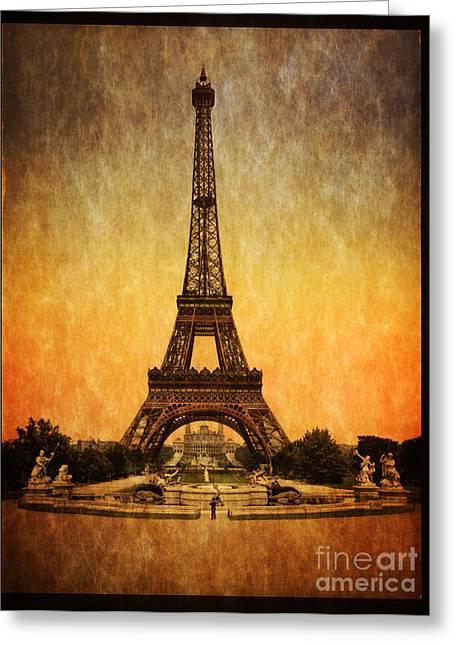 Vintage Eiffel Tower Greeting Cards -  Vintage Eiffel Tower Paris  Greeting Card by Heinz G Mielke