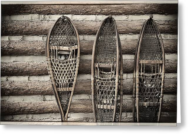 Log Cabins Greeting Cards -  Vintage Snow Shoes Greeting Card by Carter Jones