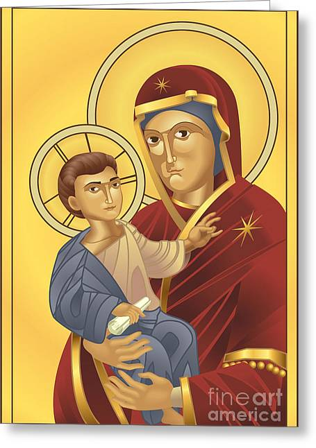 Virgin Mary And Jesus Christ Greeting Card by Christos Georghiou