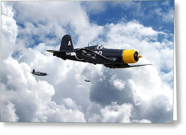 Role Greeting Cards -  Vought Corsair - Strike Mission Greeting Card by Pat Speirs