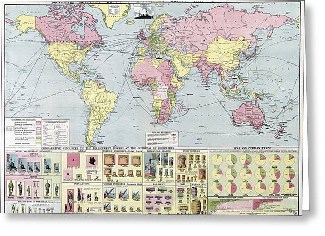Daily Mail Greeting Cards -   W W 1 World Map Of War And Commerce 1917 Greeting Card by Daniel Hagerman