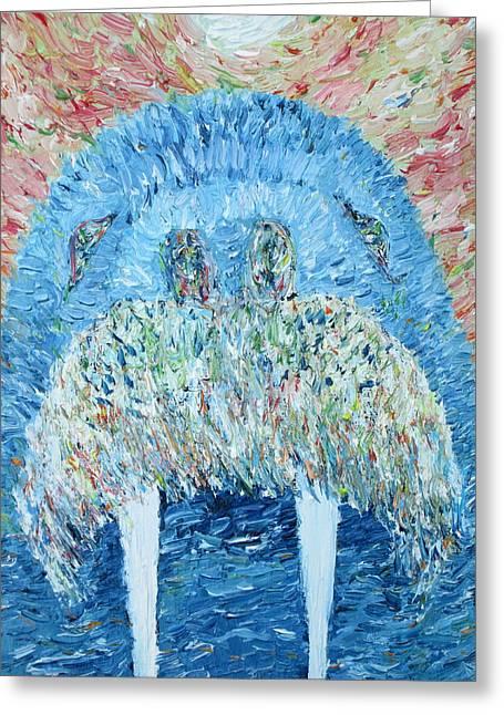 Mustache Greeting Cards -  Walrus - Oil Portrait Greeting Card by Fabrizio Cassetta