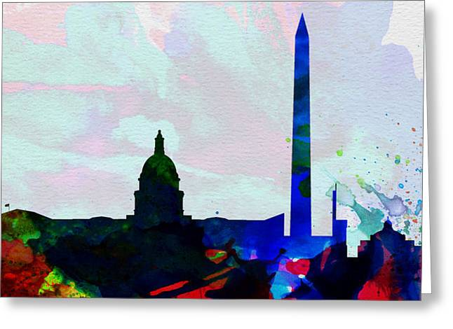 Washington Dc Greeting Cards -  Washington DC City Skyline 2 Greeting Card by Naxart Studio