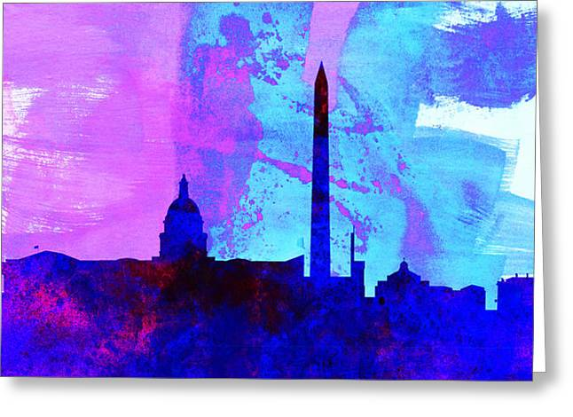 Washington Dc Greeting Cards -  Washington DC City Skyline Greeting Card by Naxart Studio