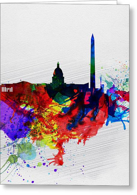 Architectural Landscape Greeting Cards -  Washington DC Watercolor Skyline 1 Greeting Card by Naxart Studio