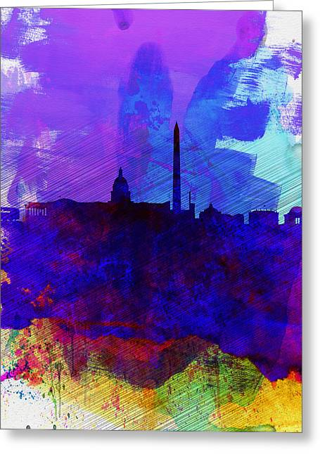 Downtown Digital Greeting Cards -  Washington DC Watercolor Skyline 2 Greeting Card by Naxart Studio