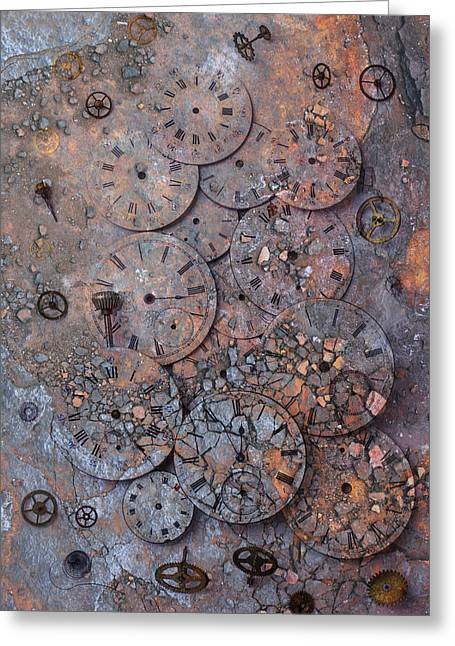 Repaired Greeting Cards -  Watch Faces Decaying Greeting Card by Garry Gay