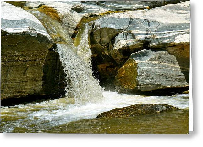 Catalina Mountains Greeting Cards -  Water Flowing Through Rock Formation in Sabino Canyon Greeting Card by Rincon Road Photography