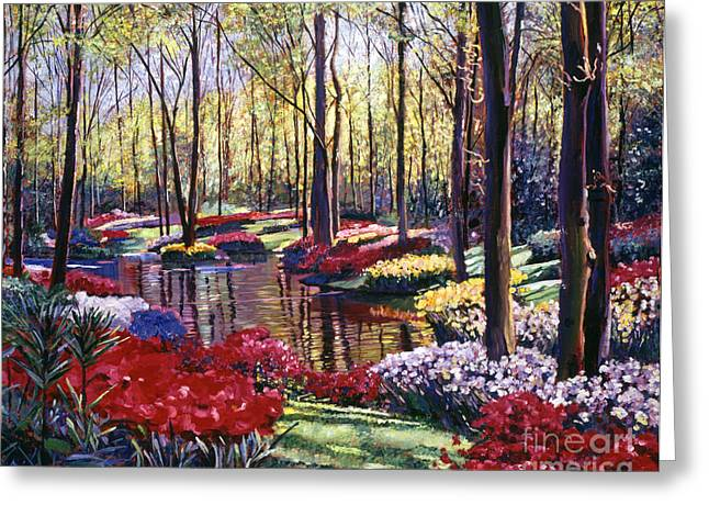 Flower Bed Greeting Cards -  Water Romance Greeting Card by David Lloyd Glover