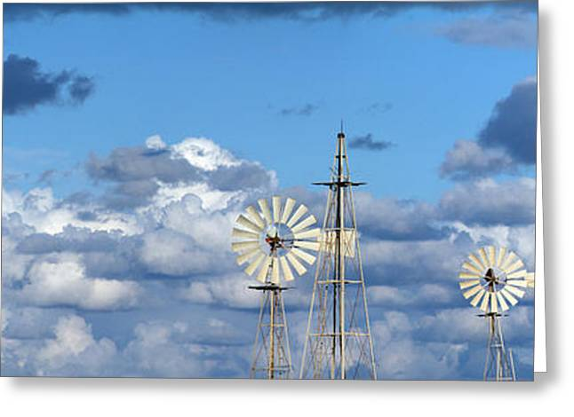 Rotation Photographs Greeting Cards -  Water Windmills Greeting Card by Stylianos Kleanthous