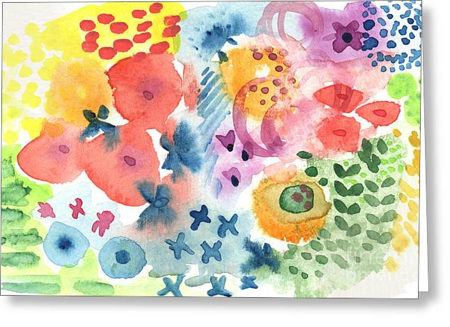 Red Leaves Mixed Media Greeting Cards -  Watercolor Garden Greeting Card by Linda Woods