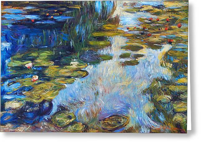 Europe Paintings Greeting Cards -  Waterlily Reflections Greeting Card by David Lloyd Glover