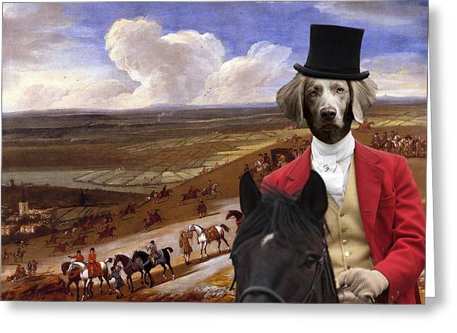 Weimaraner Art Canvas Print  Greeting Card by Sandra Sij
