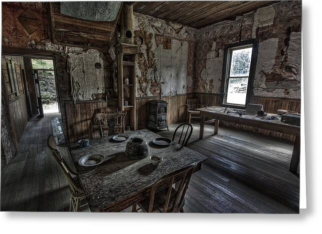 Garnet Greeting Cards -  Wells Hotel Dining Room - Garnet Ghost Town - Montana Greeting Card by Daniel Hagerman