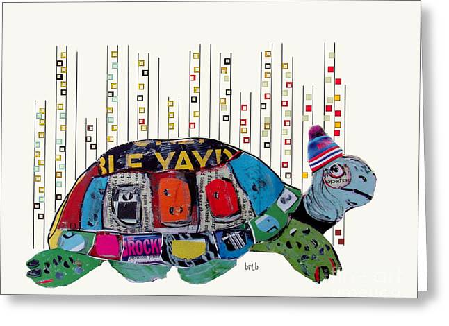 Childrens Poster Greeting Cards -  When In New York Turtles Wear Hats Too Greeting Card by Bri Buckley