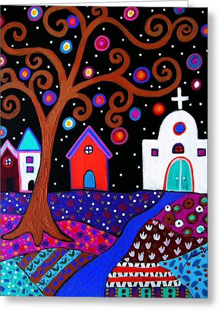 Mexicano Greeting Cards -  Whimsical Town Greeting Card by Pristine Cartera Turkus