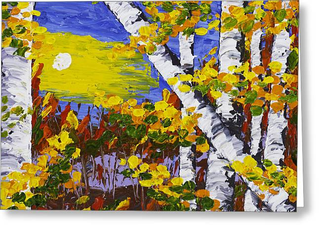 Deciduous Greeting Cards -  White Birch Trees In Fall Abstract Painting Greeting Card by Keith Webber Jr