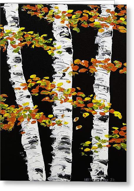 Painted Wood Paintings Greeting Cards -  White Birch Trees In Fall on Black Background Painting Greeting Card by Keith Webber Jr