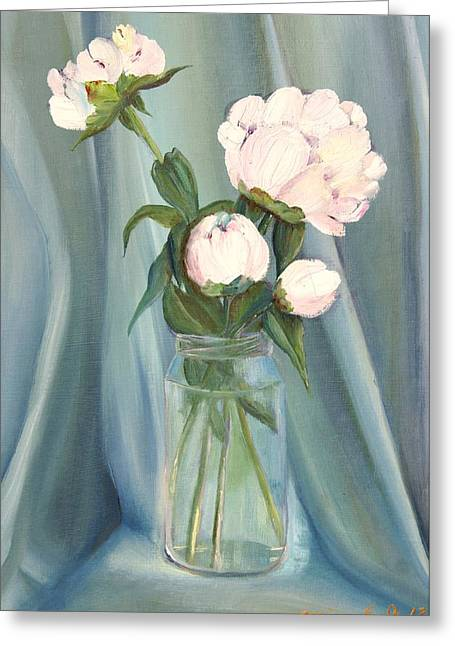 Quartet Paintings Greeting Cards -  White flower purity Greeting Card by Misuk  Jenkins
