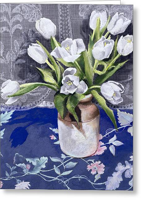 Lace Curtains Greeting Cards -  White Tulips Greeting Card by Cristiana Angelini