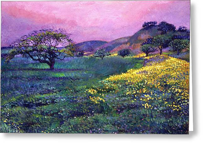 Pastoral Landscape Greeting Cards -  Wildflower Fields Greeting Card by David Lloyd Glover