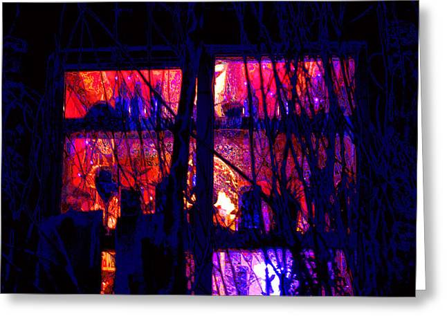 Night Cafe Digital Art Greeting Cards -  Window in Deep Evening Greeting Card by Susanne Still