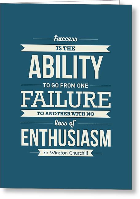 Winston Churchill British Politician Typography Quote Poster Greeting Card by Lab No 4 - The Quotography Department