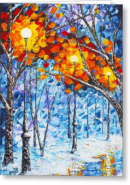 Park Scene Paintings Greeting Cards -  Silence Winter Night Light Reflections original palette knife painting Greeting Card by Georgeta Blanaru