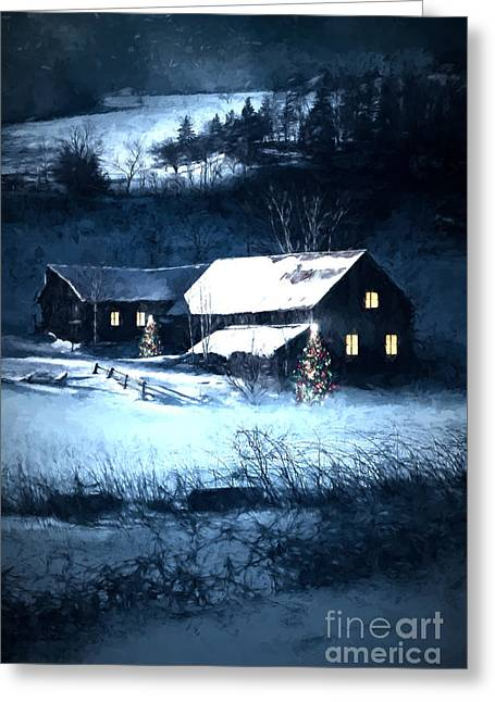 Nature Scene Digital Art Greeting Cards - Snow scene of a farmhouse at night/ digital painting Greeting Card by Sandra Cunningham
