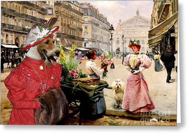 Wire Paintings Greeting Cards -  Wire Fox Terrier Art Canvas Print Greeting Card by Sandra Sij