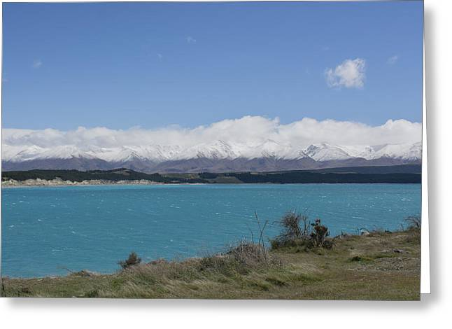Aotearoa Greeting Cards -  Lake pukaki with the Ben Ohau Range in the background Greeting Card by Rob Hill